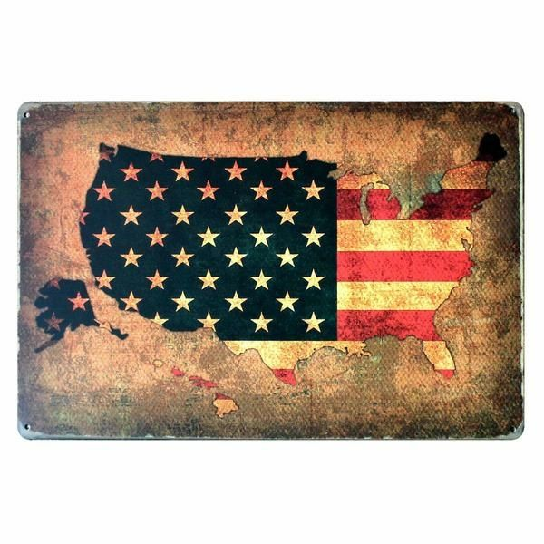 American Flag Metal Tin Sign Poster Plaque Bar Club Wall Home Decor 20x30cm