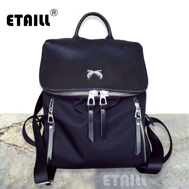 Newest Stylish Cool Nylon Leather Backpack Female Rucksack School Bag Teenage Girls Men Bagpack Mujer Mochila Escolar Feminina
