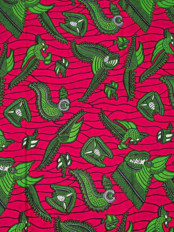 V ritable wax africain d 39 impression motif tissu vert rose - Motifs africains maternelle ...