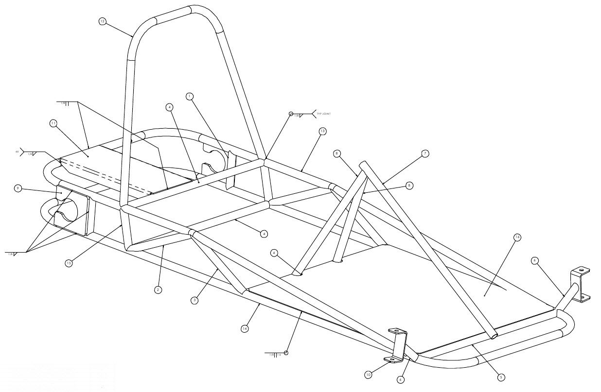 Weldments and parts to build the go kart. Use the numbers on this ...