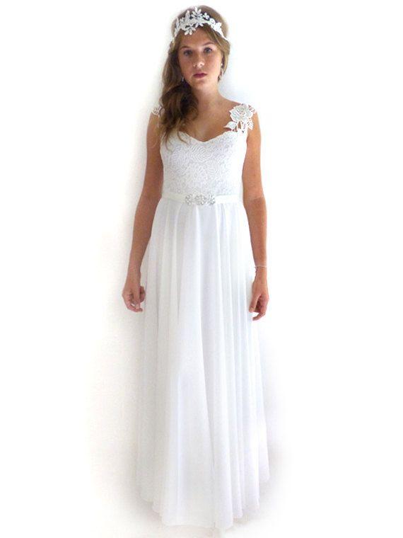 Lace wedding dress simple vintage A Line bridal by FoldedRoses ...