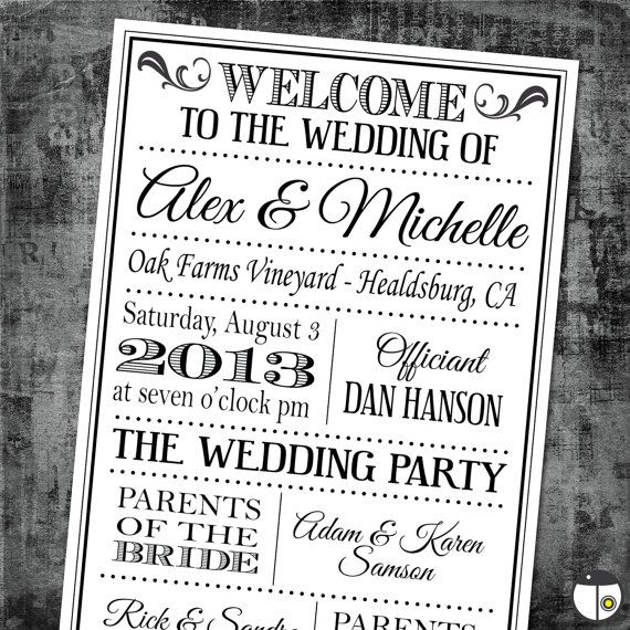 printable digital wedding program vintage playbill theme classic