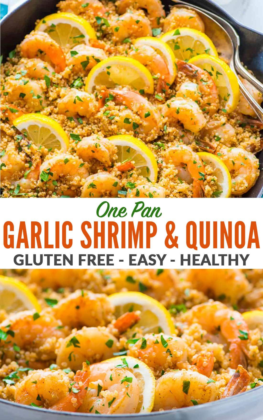 Garlic Shrimp with Quinoa—Easy, quick, and delicious! Healthy recipe with fresh lemon and garlic. Not too spicy with lots of flavor. A one pan meal that every one loves! Gluten free and perfect for busy families. #wellplated #garlicshrimp #shrimp #onepan via @wellplated #garlicshrimprecipes