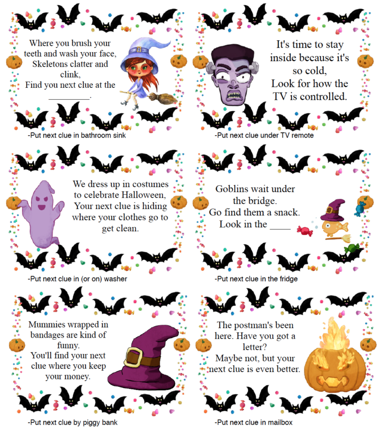 Free Printable Halloween Treasure Hunt For Kids In 2020 Halloween Printables Free Halloween Kids Halloween Party Kids