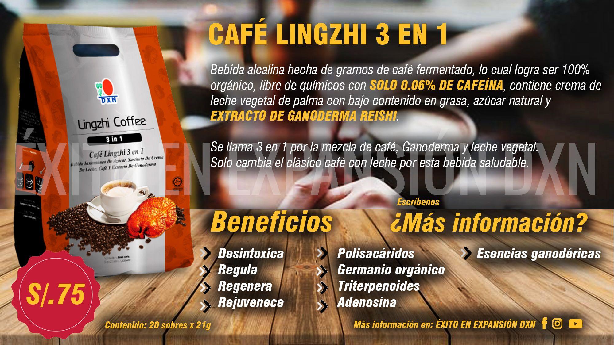 Cafe lingzhi 3 en 1 ayuda a bajar de peso