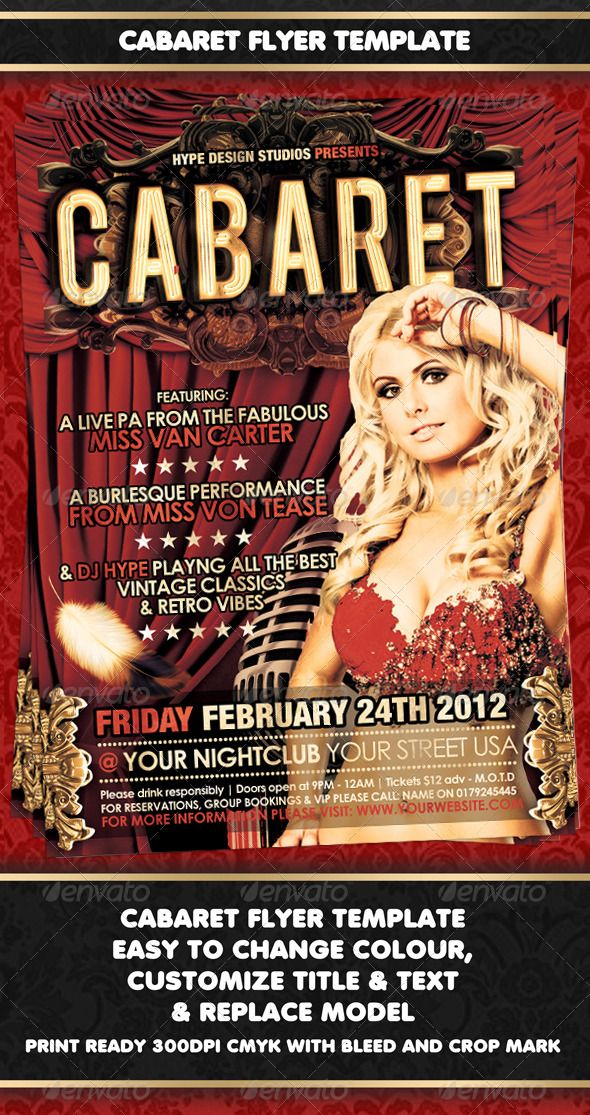 Cabaret Flyer template Cabaret, Flyer template and Template - new year brochure template
