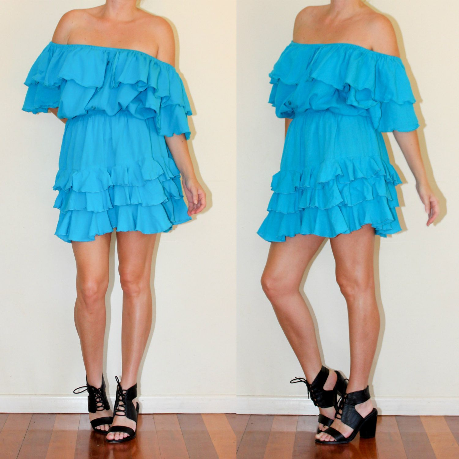 Ra Ra Skirt 80s Vintage Cheesecloth Blue Party Two Piece Outfit Off ...