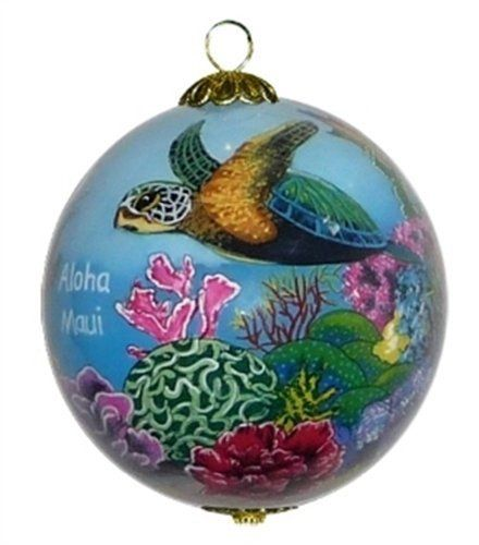 Hawaii Painted Glass Christmas Ornament Coral World with Sea Turtles