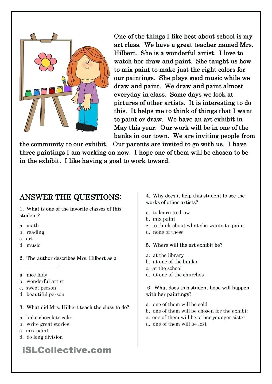 5 Elements Of A Short Story Worksheets Free Preschool Kindergarten Read…    Esl reading comprehension [ 1440 x 1018 Pixel ]
