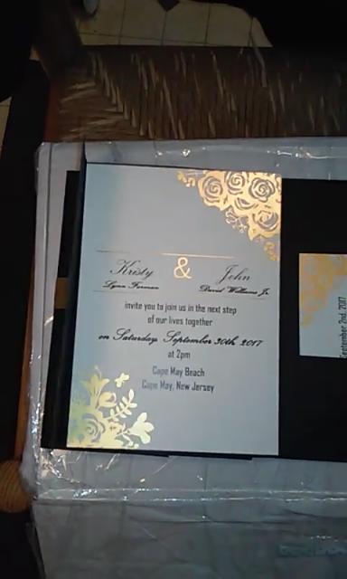 black and gold glitter pocket wedding invitations EWPI199