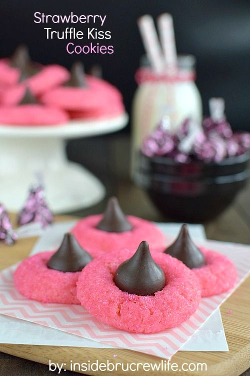 These easy strawberry cookies are topped with a truffle kiss Hershey kiss and sparkles.  They are amazing!!!