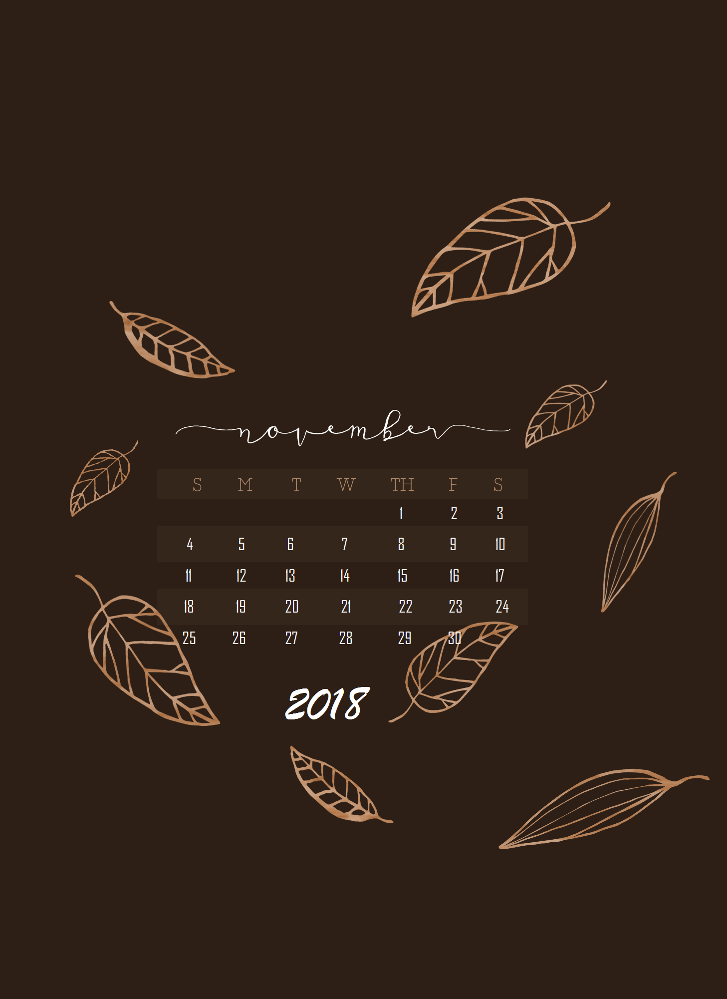 November 2018 iPhone Calendar Wallpaper Calendar