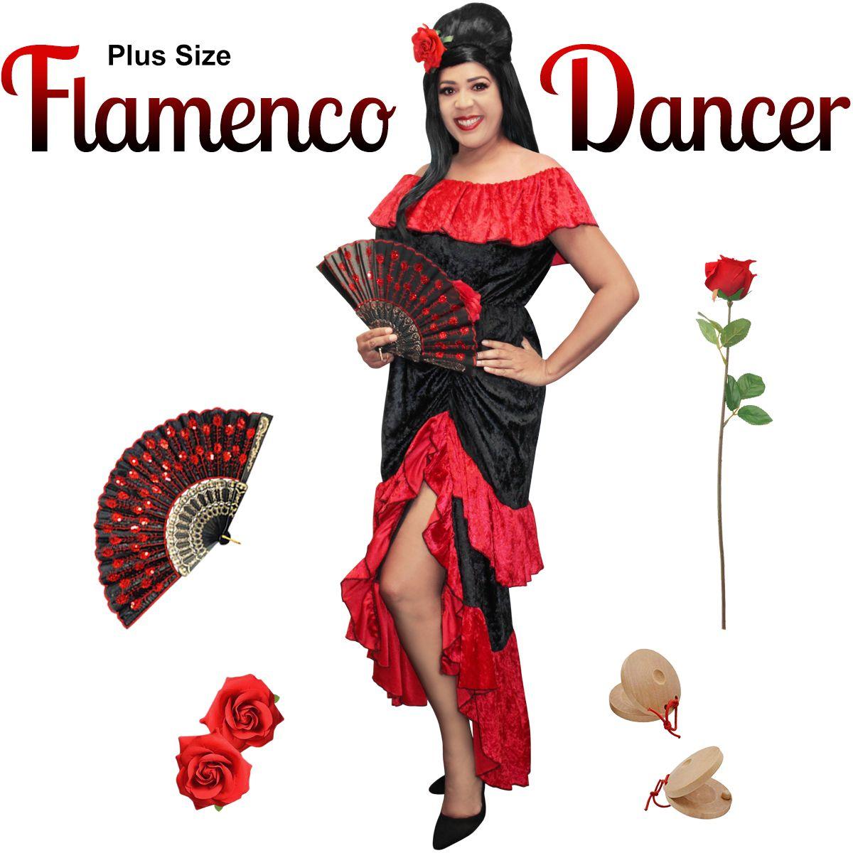 56089329eca6 NEW! Plus Size Flamenco Halloween Costume XL 1x 2x 3x 4x 5x 6x 7x 8x ...