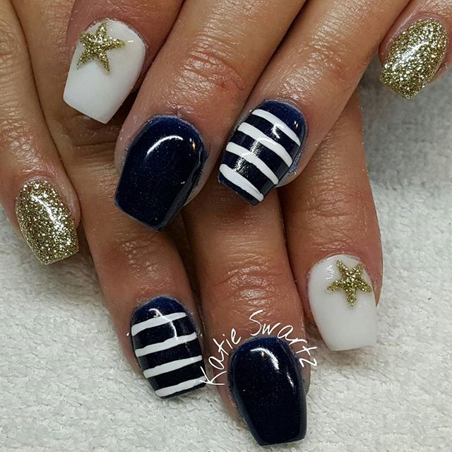 Instagram Photo By Nails By Katie Swartz Apr 16 2016 At 11 52pm Utc Nails Swag Nails Nautical Nails