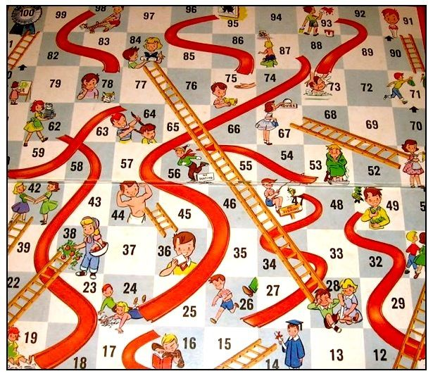 Boardgame design template with snakes and ladder illustration Stock Vector  Image & Art - Alamy