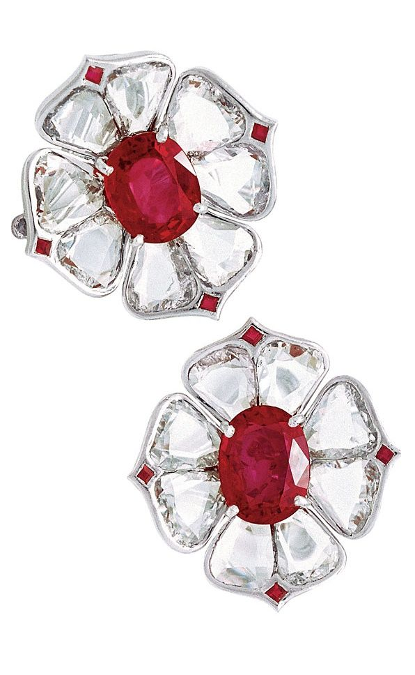 91dd8ee1a2a847 Viren Bhagat floral earrings made of flat petal-shaped diamonds (devoid of  facets) with a bright ruby centerpiece.