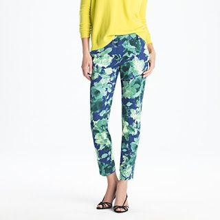 fresco floral blue and green cafe capris. jcrew. so cute. pop of yellow neon.