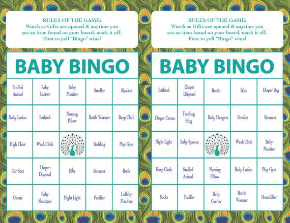 baby shower bingo game peacock theme instant download boy or girl set of 40 cards