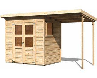 Woodfeeling Holz Gartenhaus Neuenburg Natur 370 Cm X 150 Cm Davon 162 Cm Anbauda Kaufen Bei Obi Gartenhaus Haus Flachdachhaus