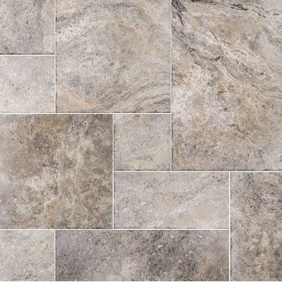 Silver Roman Random Sized Travertine Mosaic Tile Floors