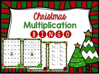 image about Multiplication Bingo Printable called Xmas Multiplication Bingo 2-10 data 3rd Quality