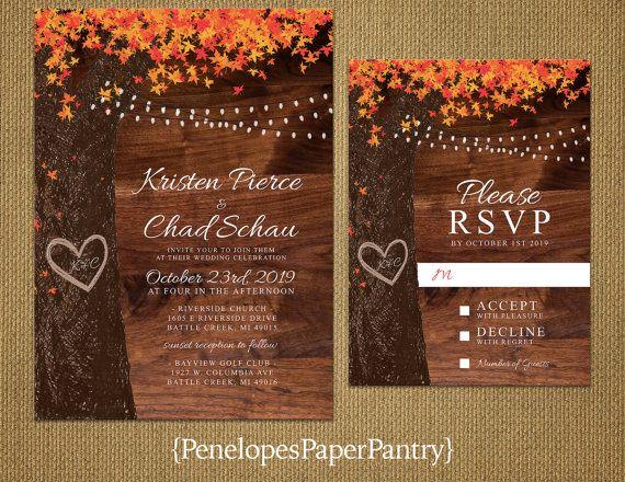 elegant rustic fall wedding invitationoak treefall - Rustic Fall Wedding Invitations