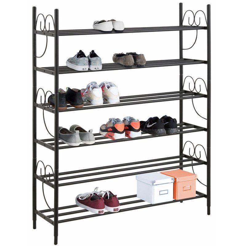 Isabelle 30 Pair Shoe Rack Shoe Rack Slatted Shelves Hokku Designs