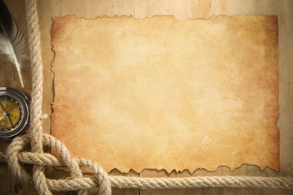 ship ropes and compass at parchment old paper powerpoint