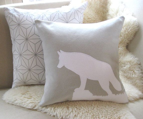 wolf pillow cover game of thrones inspired direwolf stone taupe white grey black appliqu. Black Bedroom Furniture Sets. Home Design Ideas