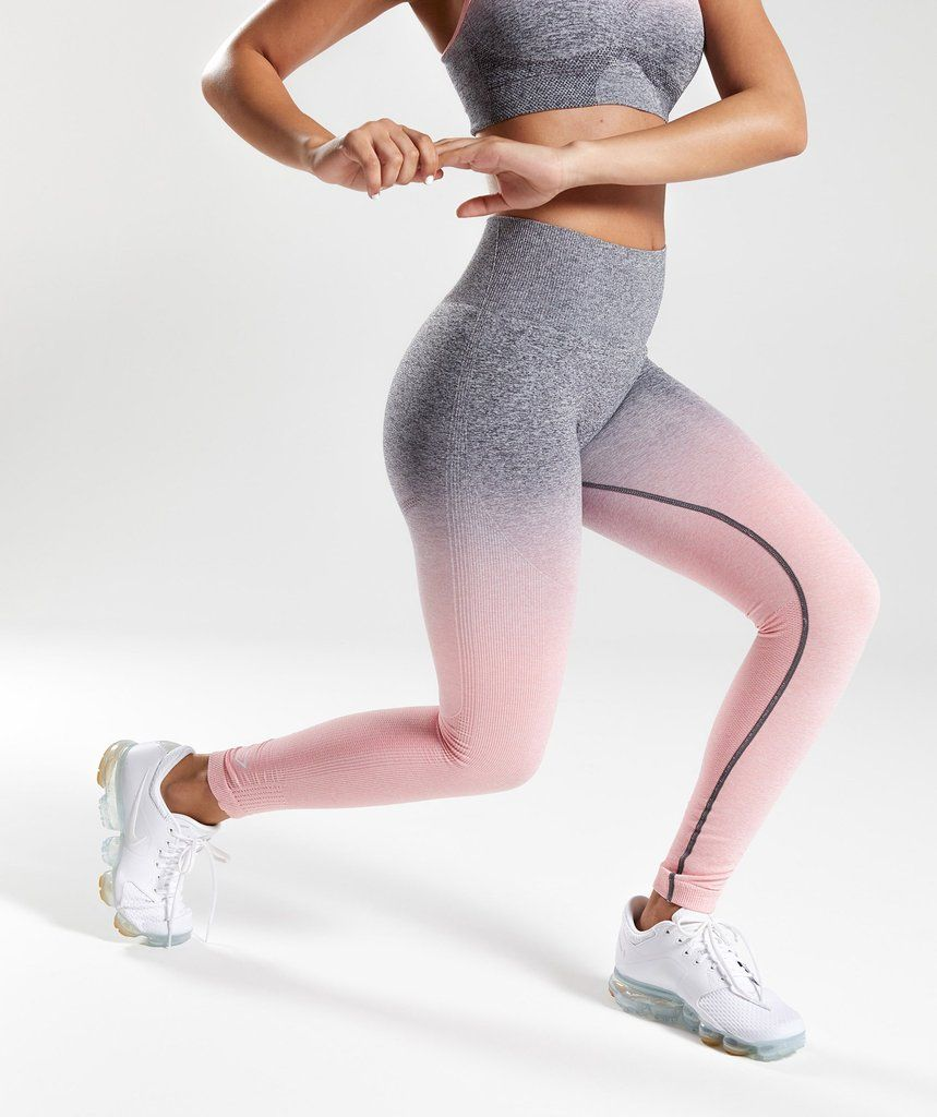 14934762c4a340 Gymshark Ombre Seamless Leggings - Peach Pink/Charcoal 4 | Be Active ...