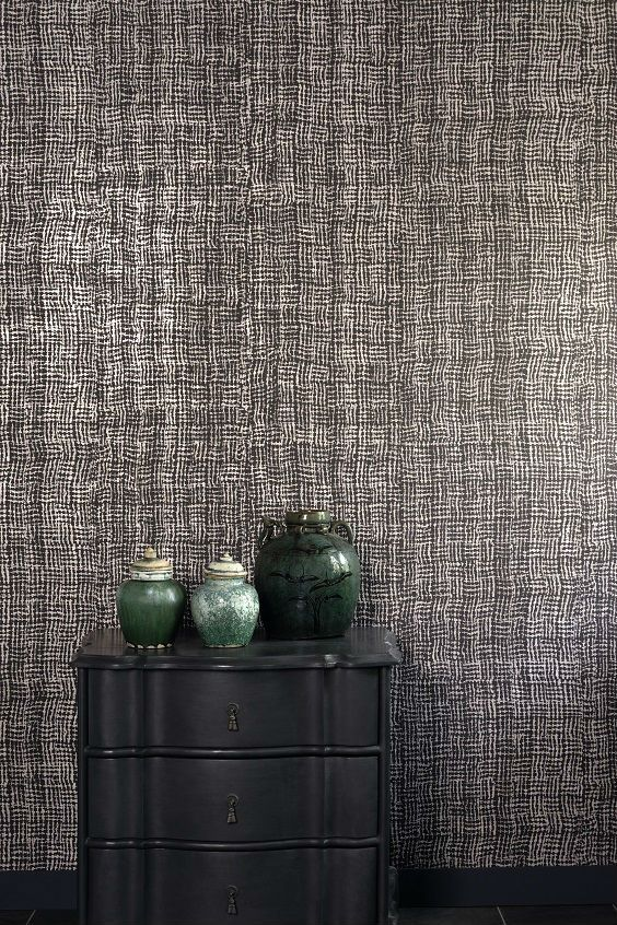 Patterns devour leaves, allowing glimpses of shades of colors and reflections of golden metal.   #washi #wallcovering #wallpaper #elitis