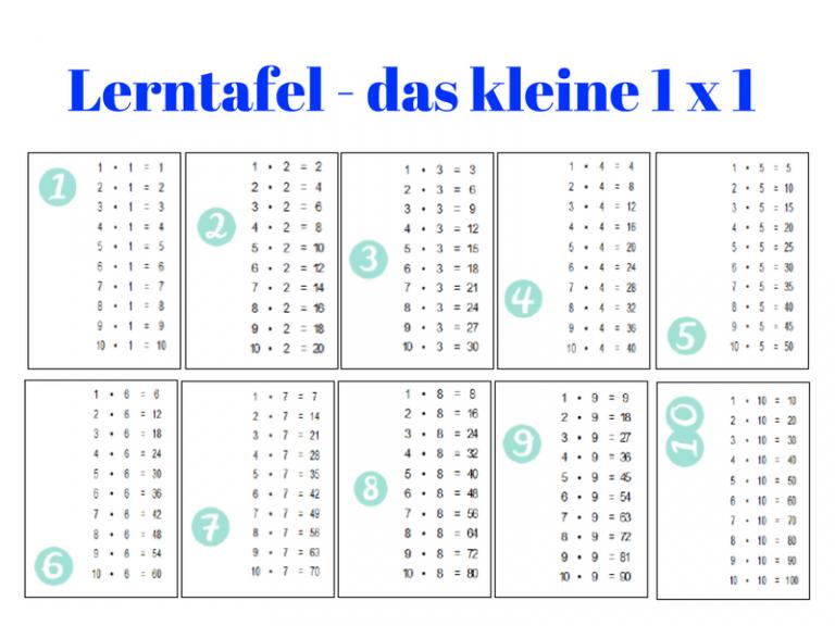 1 Mal 1 Tabelle Zum Ausdrucken