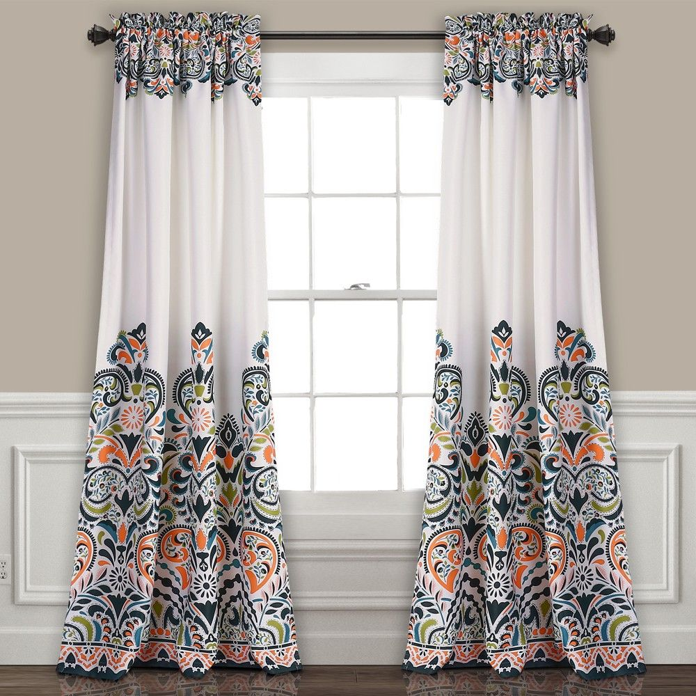 red curtain product pink curtains tangerine shower flower oranges project cottage chintz floral a modern