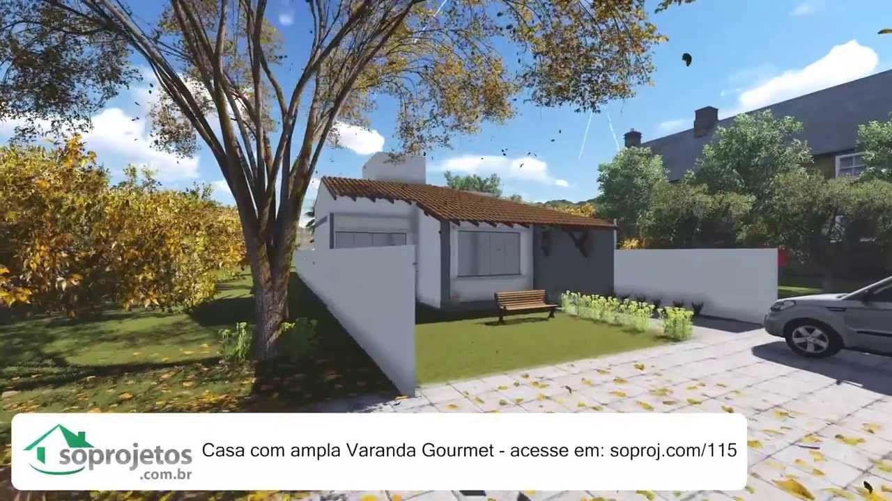 Plantas de casas - Casa com ampla varanda Gourmet - Cód. 115
