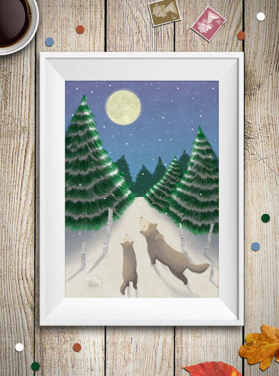 Woodland wolf with puppies print in winter timenursery art nature wall art family wolves wildlife print