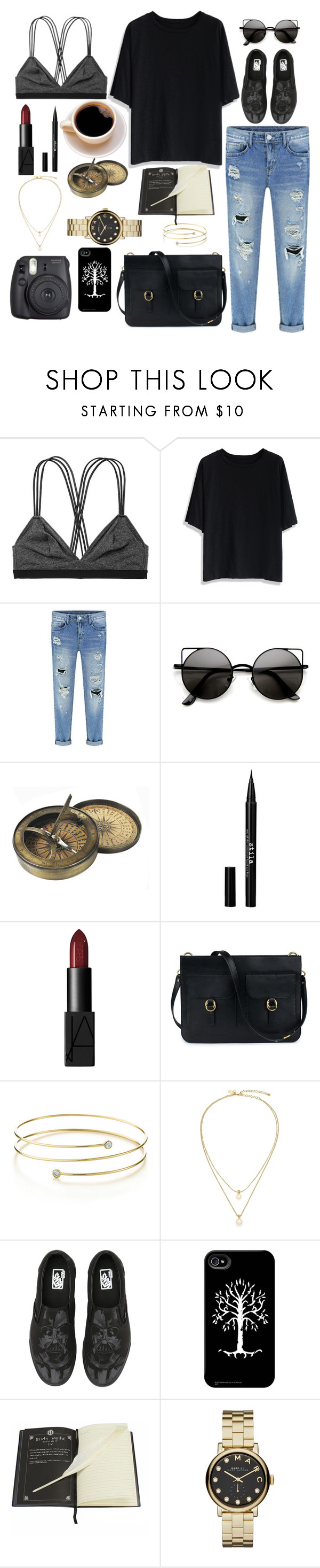 """""""Hipster"""" by lovelydgessy ❤ liked on Polyvore featuring Victoria's Secret, Chicwish, Stila, NARS Cosmetics, Elsa Peretti, Kate Spade, Vans, Marc by Marc Jacobs and Fuji"""