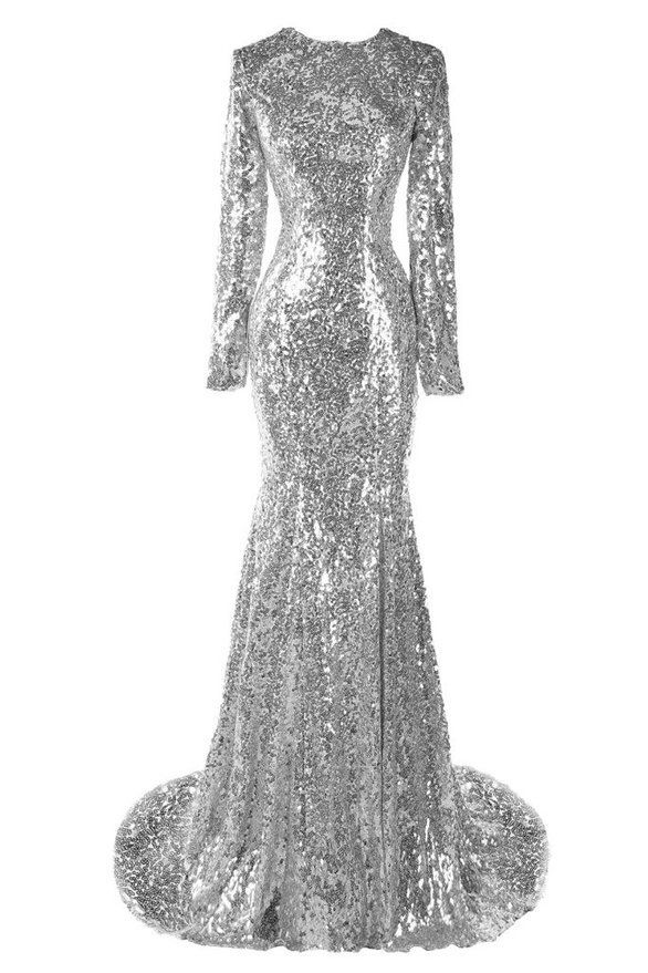 Moroccan Silver Long Sleeve Mermaid Maxi Dress Long