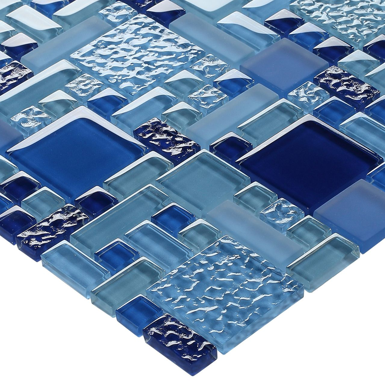 Glass Pool Mosaic Tile Multi Blue Random | Pool bathroom, Glass pool ...
