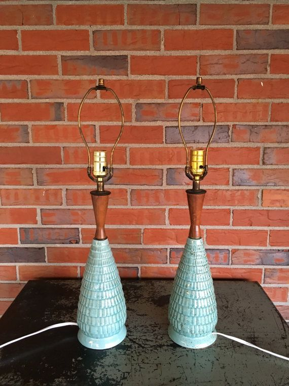 Vintage Pair of Mid Century Ceramic and Teak Wood Lamps Turquoise Retro Decor