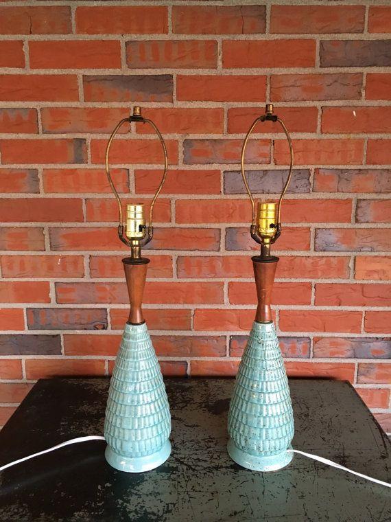 Vintage Pair of Mid Century Ceramic and Teak Wood Lamps Turquoise Retro Decor