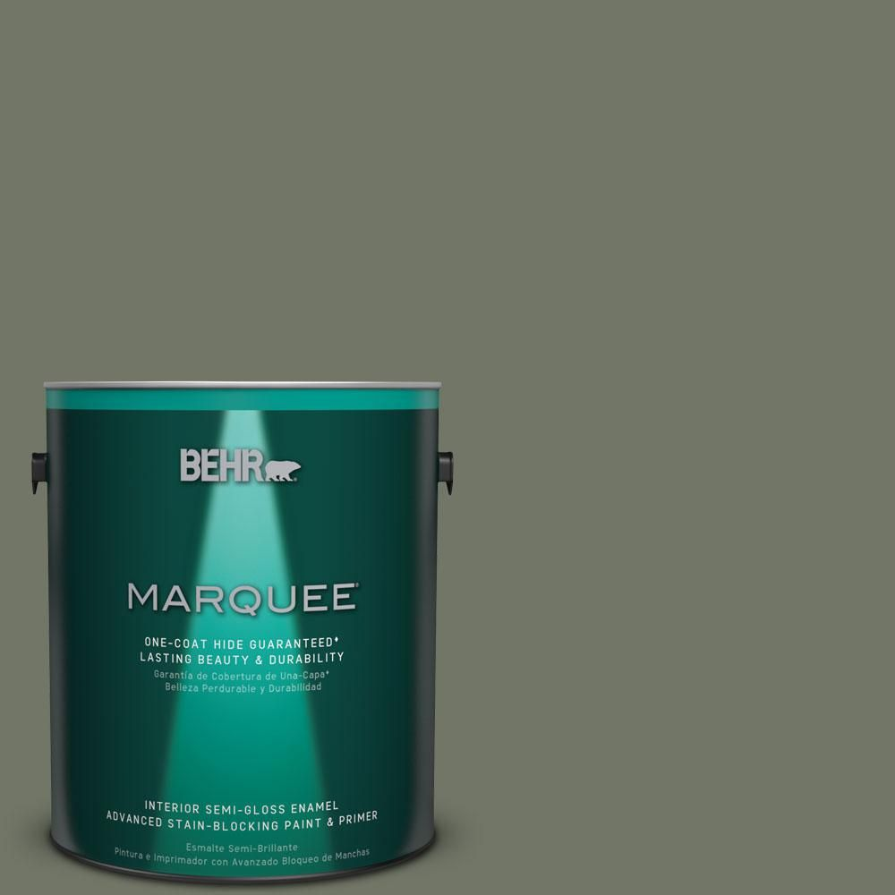 BEHR MARQUEE 1 gal. #PPU10-19 Conifer Green One-Coat Hide Semi-Gloss Enamel Interior Paint