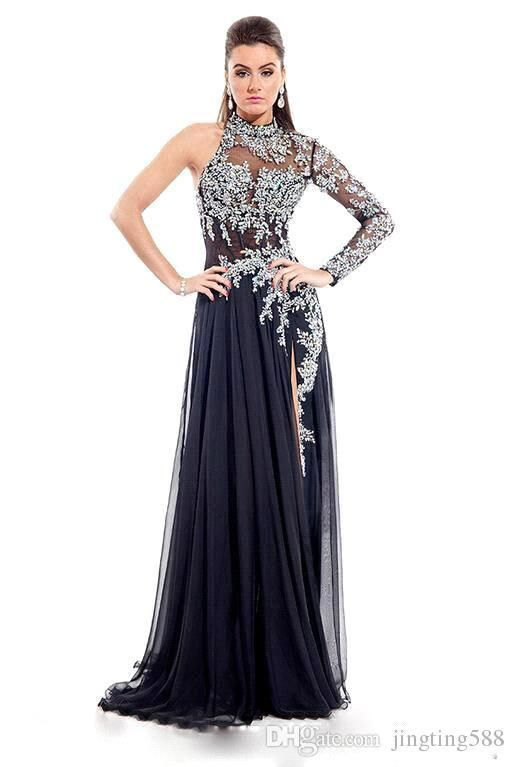 Rhinestones a Line Prom Dress Black