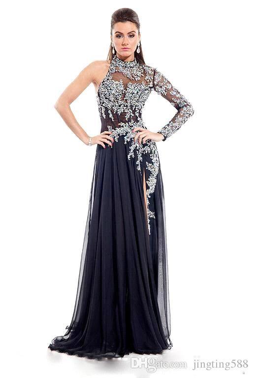 Rhinestones a Line Prom Dress Black