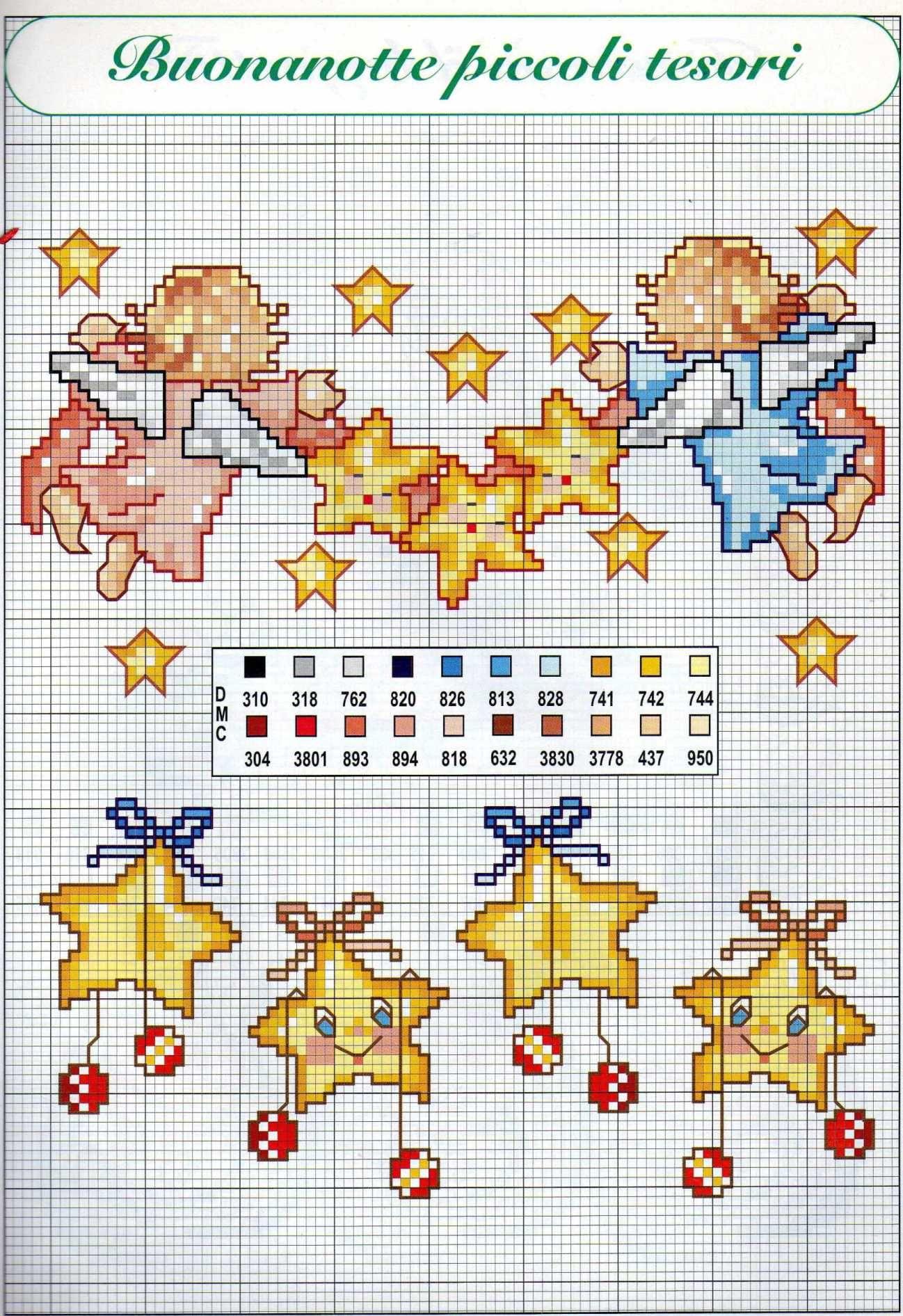 Bordi punto croce nascita per bambini con stelline e for Punto croce bambini nascita
