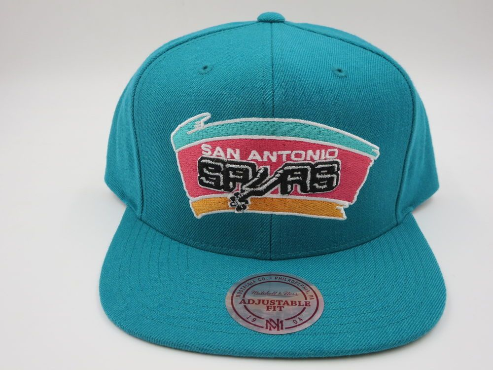 6dd90599fcc San Antonio Spurs Teal - Black Wool Mitchell   Ness NBA Retro Snapback Hat  Cap  MitchellNess  SanAntonioSpurs