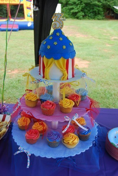 CIRCUS BUTTERCREAM CAKES circus tent and cupcakes circus tent is a