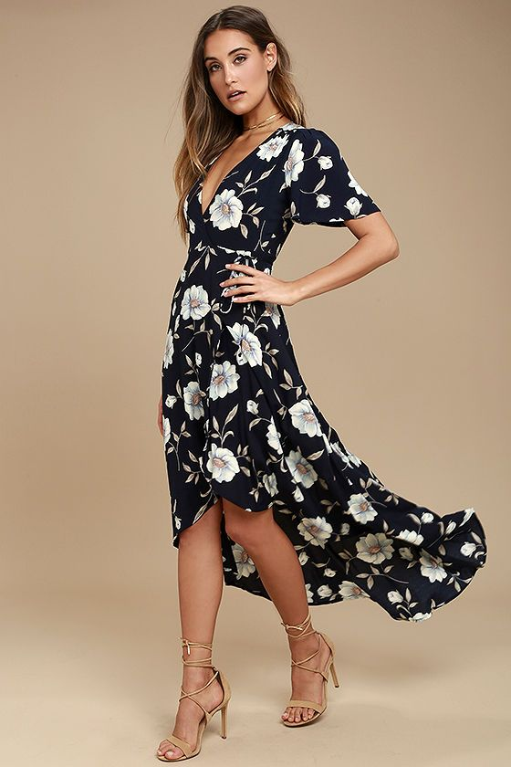 ab2f8f2961b0 The Lake Como Navy Blue Floral Print High-Low Wrap Dress is fit for an  Italian villa vacation! Lightweight navy blue woven rayon with a white,  light blue, ...