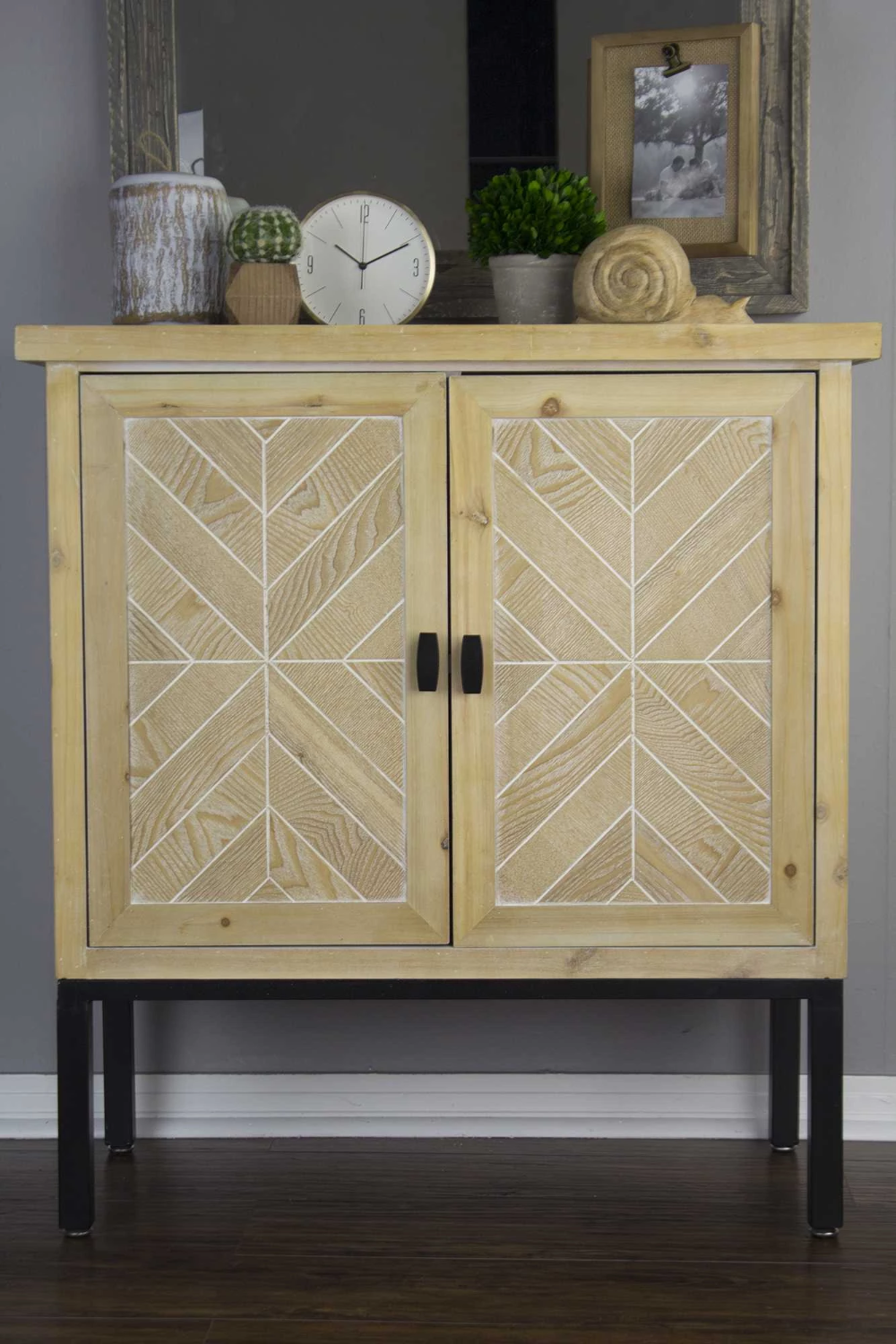 """Natural Veneered Wooden Flush Door Design Mdf Living Room: 26"""" White Washed Parquet Iron Sideboard With An Iron Frame"""