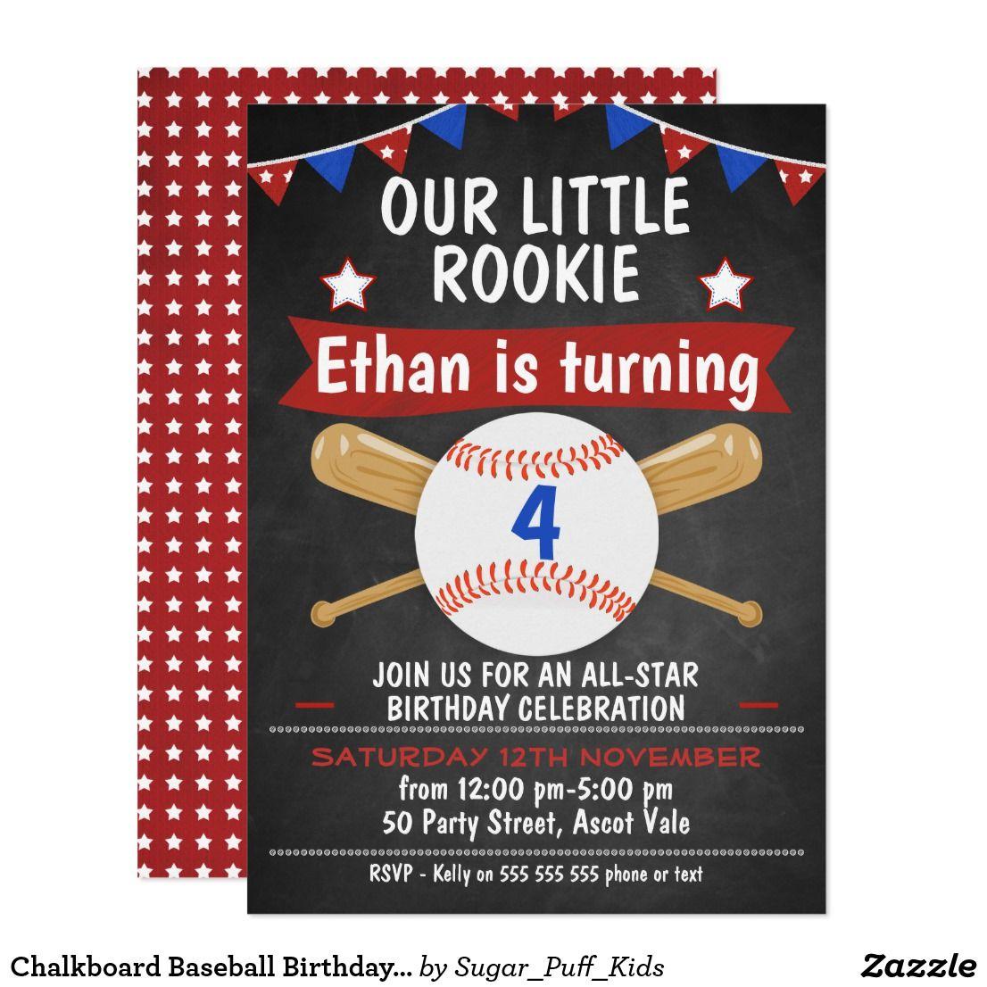 Chalkboard Baseball Birthday Invitation | Baseball birthday ...