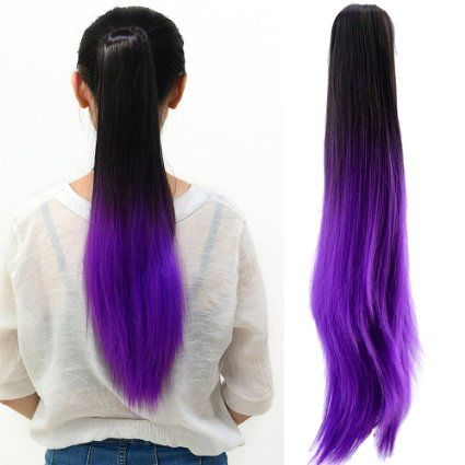 Neverland ladies women clip in hair extension two tone neverland clip in two tone ponytail dip dye synthetic pmusecretfo Images